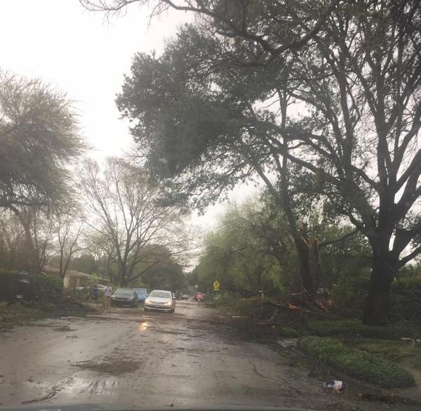 The Oak Park/Northwood neighborhood near Nacodoches and Loop 410 was also hit hard by the storm last night.