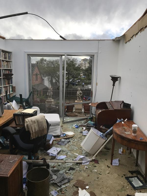 A condo complex in the 7700 block of Broadway sustained damage from Sunday night's tornado.
