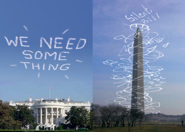 "<p>In ""Sky Petition City,"" William Pappenheimer created an app that allows users to write messages above buildings in D.C. for all to read. When someone else writes a new message, the current one is stuck onto the Washington Monument like a giant AR receipt spindle.</p>"