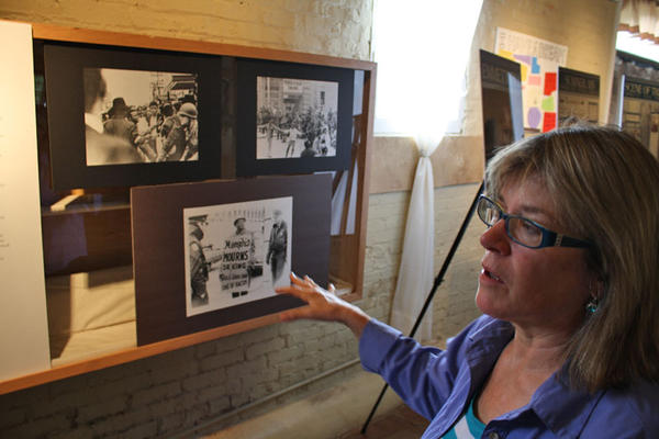 Human Rights Education Institute director Lisa Manning describes an exhibition on civil rights at the center in Coeur d'Alene, Idaho.