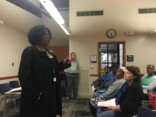 Mayor Sharon Weston Broome addressed the crowd Thursday at Eden Park Library in Baton Rouge. The Mayor's Office presented it's plan on how to spend an $11 million flood recovery grant from the Department of Housing and Urban Development.