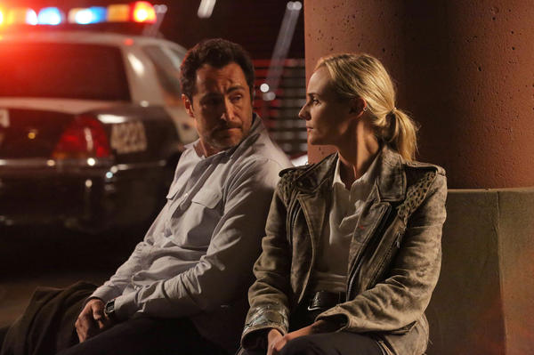 Mexican detective Marco Ruiz (Demian Bichir) teams up with his American counterpart, Sonya Cross (Diane Kruger), to solve a murder in FX's <em>The Bridge</em>.