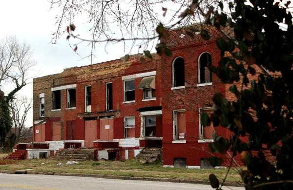Vacant buildings owned by the Land Reutilization Authority in the 4000 block of Evans Avenue.