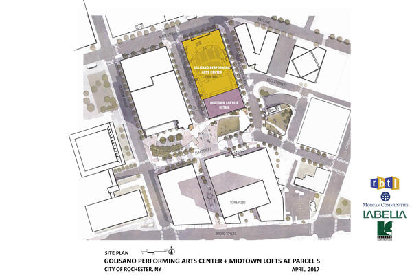 Site plan showing the proposed Golisano Center for the Performing Arts and Tower