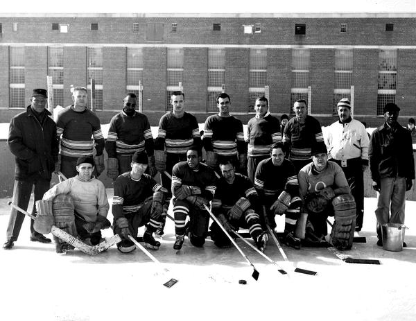 The Marquette Prison Pirates clashed with the Red Wings in 1954. By the end of the first period, the Wings were up 18-0.