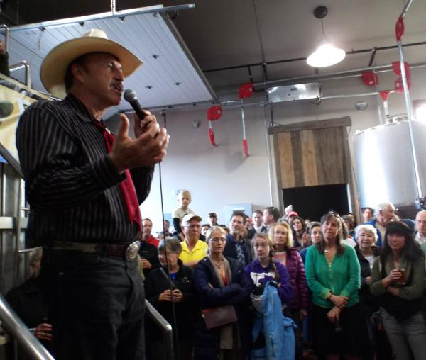 Rob Quist at a campaign rally at MAP Brewing in Bozeman