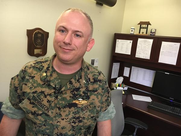 "Lt. Cmdr. Corey Thornton is the chaplain at the Camp Pendleton Marine Base and helps facilitate the church groups that run the on-base food pantries for military families. ""The Marine Corps sees family readiness as integral to the mission itself,"" he says. ""If the family is not OK, then the Marine that's serving in that command is not OK."""