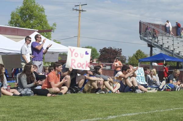Fans cheer on the athletes during the Bozeman Hawks & Bozeman Mighty Mustangs game at the 2016 Montana Special Olympics.