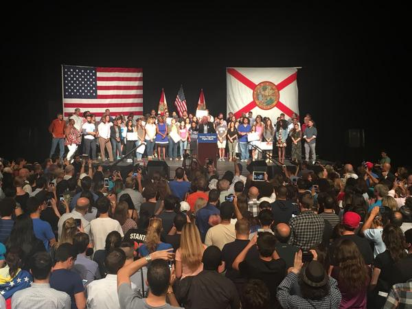 More than 2,000 people showed up to hear Bernie Sanders speak at the James L. Knight Center in downtown Miami.