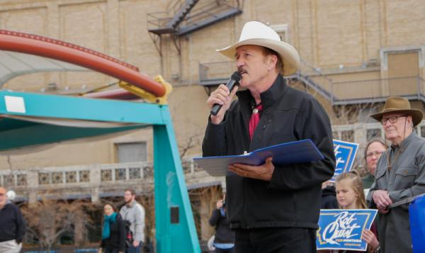 Rob Quist speaks to a crowd at a 'Rally for Public Lands' in Missoula, MT.