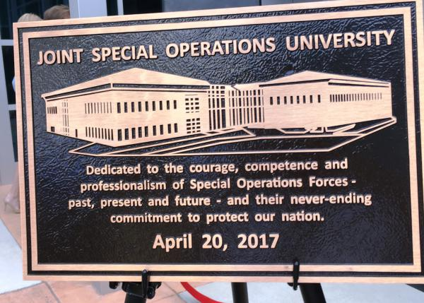 The bronze plaque that will be mounted at the entrance to the Joint Special Operations University.
