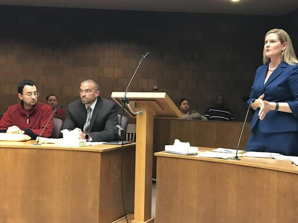 Larry Nassar, his attorney Matthew Newburg, and Assistant Attorney General Angela Povilaitis in court Monday