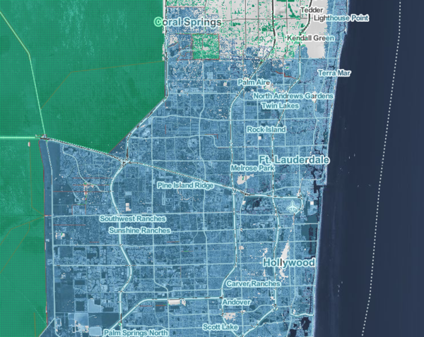 "A map from the Climate Central study shows how the greater Fort Lauderdale area could be impacted if rising seas reach NOAA's ""extreme"" projection. Areas in blue are submerged."