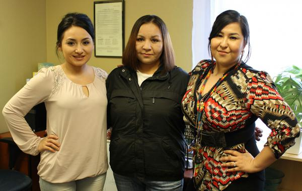 Charmayne Healy (l) and Miranda Kirk (r), co-founders of the Aaniiih Nakoda Anti-Drug Movement, and Melinda Healy, a participant in the peer recovery support program.