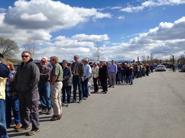 Over 300 supporters line up in Hamilton before a Greg Gianforte, Donald Trump Jr. campaign rally April 21, 2017.
