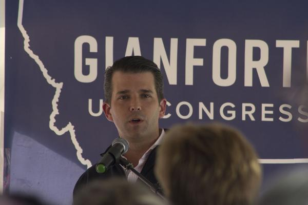 Donald Trump Jr. returned to Montana on May 11 to rally supporters for U.S. House candidate Greg Gianforte in Butte, Montana.