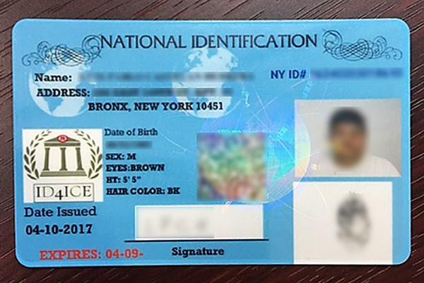 """Carlos Davila manufactured """"National Identification"""" cards like this one and trademarked it."""