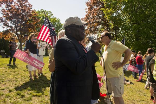 A pro-Trump demonstrator spoke in defense of the President.