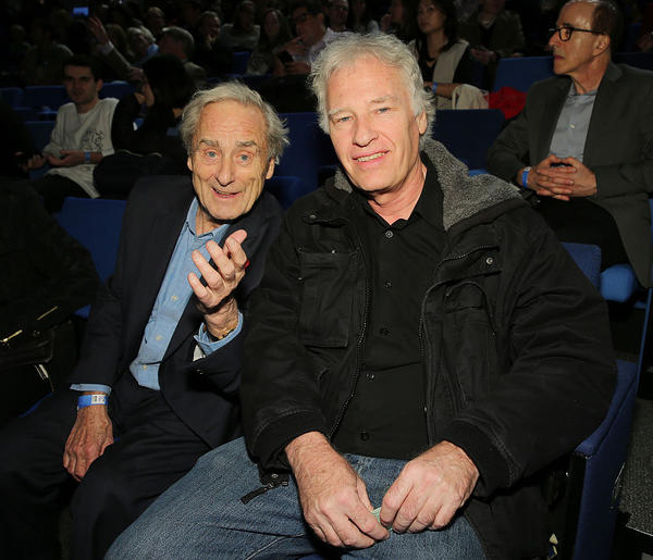 Journalist Sir Harold Evans (left) and photographer Jeff Widener (right) attend TIME's 100 Most Influential Photos Of All Time Event on November 16, 2016 in New York City.