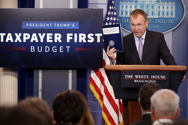 Office of Management and Budget Director Mick Mulvaney holds a news conference to discuss the Trump Administration's proposed budget for 2018 at the White House on May 23, 2017.