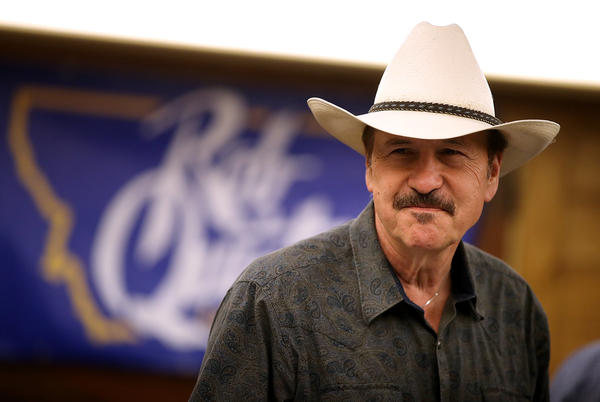 Democratic congressional candidate Rob Quist attends a gathering with supporters in Great Falls, Mont., on Monday. Quist is campaigning throughout Montana ahead of the special election to fill the state's single U.S. House seat.