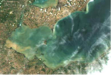 A NASA satellite image of western Lake Erie from May 22, 2017