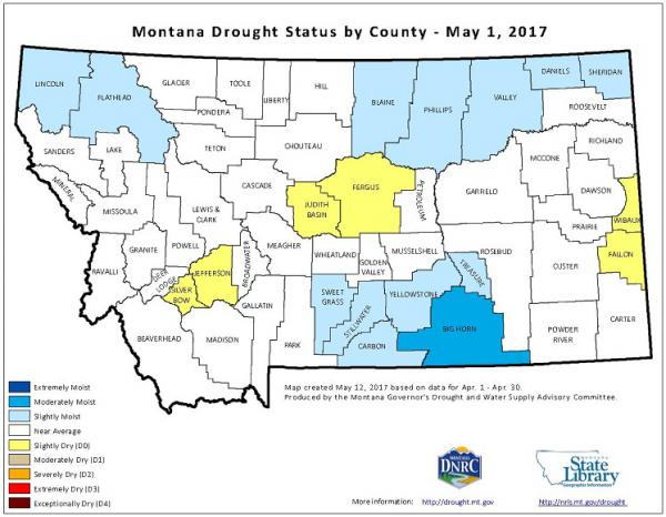 Montana drought status by county, May 1, 2017.
