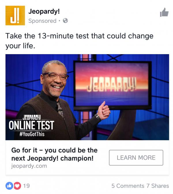 """Seen this ad for """"Jeopardy!"""" in your social media feeds?"""
