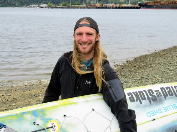 R2AK paddleboard competitor Luke Burritt, 33, works seasonally as a sailboat rigger, paddleboard instructor or climbing guide.