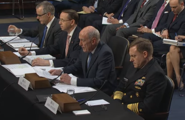 Director of National Intelligence Dan Coats and the head of the National Security Agency, Adm. Mike Rogers, are testifying before the Senate committee.