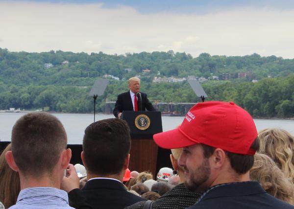 President Trump addresses a crowd at Rivertowne Marina June 7, 2017.