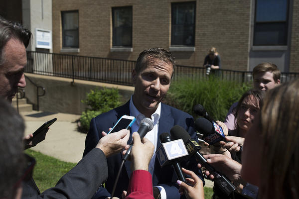 Gov. Eric Greitens speaks with reporters after touring Our Lady's Inn, a St. Louis pregnancy center for women experiencing homelessness, on June 8, 2017.