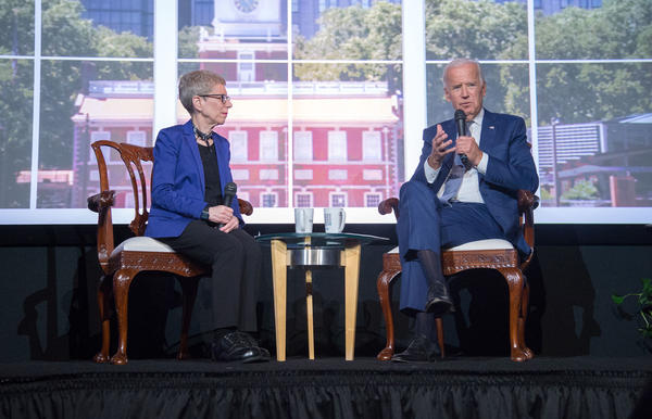 <em>Fresh Air </em>host Terry Gross interviewed former Vice President Joe Biden in front of a live audience at the WHYY studios in Philadelphia on Tuesday.