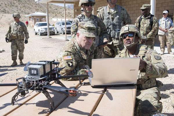 Army Chief of Staff Gen. Mark Milley (left) looks at a drone with soldiers from a Cyber Electromagnetic Activities Support Team at Fort Irwin, Cal.