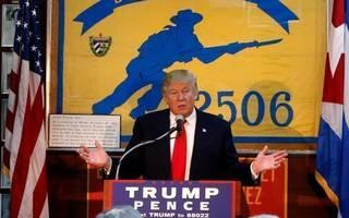 Then presidential candidate Donald Trump in Miami last fall speaking to Bay of Pigs veterans.