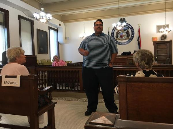 Jackson County Committeeman Jalen Anderson speaks to a group of Pike County Democrats last week in Bowling Green.