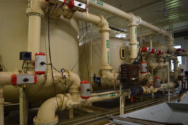Wellington, Ohio's multiple phase water filtration system treats water from the town's reservoir