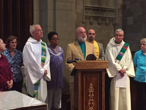 The Rev. Tom Gerstenlauer of South Congregational Church in Springfield, explains the sanctuary decision, on June 16, 2017.