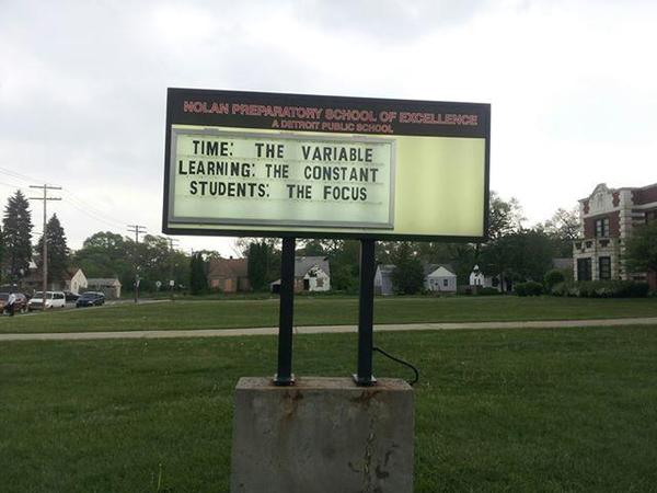 """A sign outside an EAA school advertised its """"student-centered learning"""" philosophy in 2013. The attempt at a state turnaround schools district, widely regarded as a failed experiment, ends this week."""