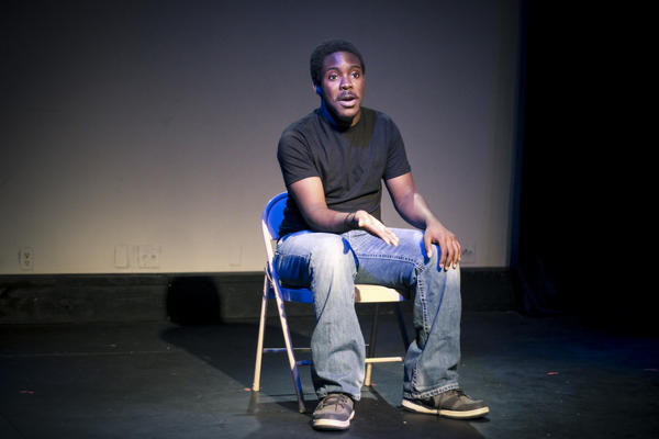 """Teen actor De'Aveyon Murphy depicts emergency room Dr. Brian Williams in """"Shots Fired,"""" a documentary play about the July 7 Dallas police shootings."""