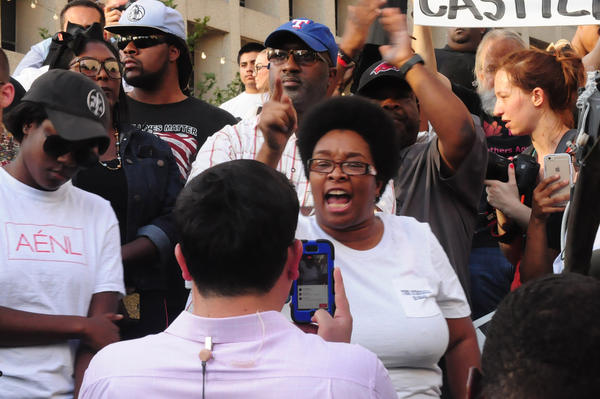 Protestors before the shooting broke out on Thursday evening in downtown Dallas.
