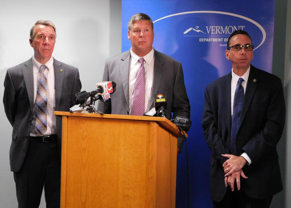 From left: Vermont Governor Phil Scott, Vermont Agency of Human Services Secretary Al Gobeille, ONDCP Acting Director Richard Baum