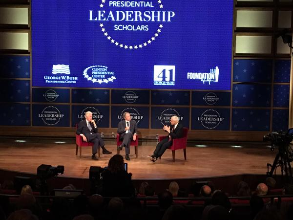 Formers President Bill Clinton and George W. Bush and David Rubenstein at the George W. Bush Presidential Center on Thursday, July 13, 2017.