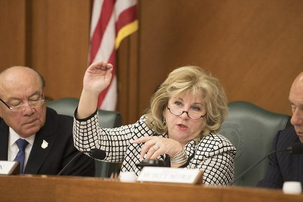 State Sen. Jane Nelson, R-Flower Mound, explains the benefits of Senate Bill 19 during a meeting of the Senate Finance Committee on Saturday.