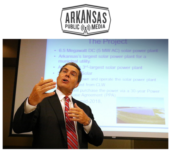 Scenic Hill Solar founder Bill Halter gives a presentation before the Clarksville Rotary Club July 13 at University of the Ozarks.