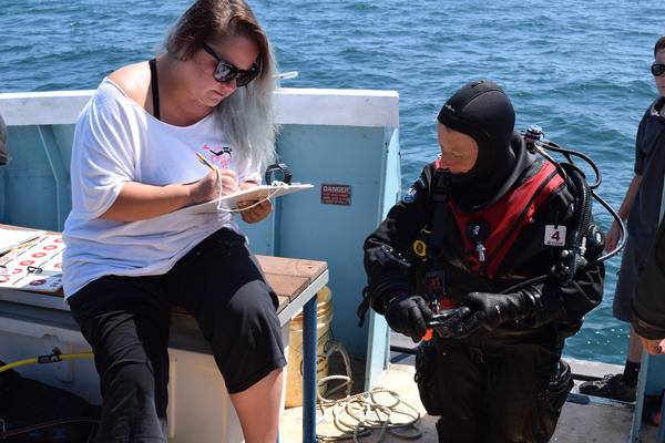 Checking in before a dive