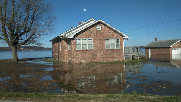 A flooded home in Olive Branch, Illinois on Friday, Jan. 1, 2016.
