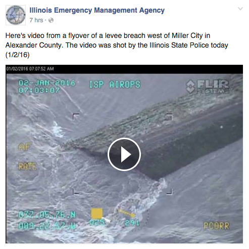 Footage captured by the Illinois State Police of the levee breach west of Miller City in Alexander County
