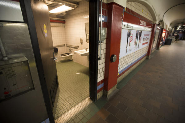 A public restroom on the platform of the Central Square MBTA station which drug users have used in the past. (Jesse Costa/WBUR)
