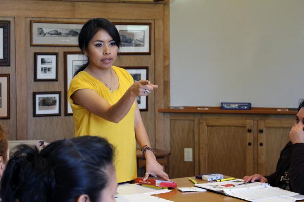 Velazquez teaches prospective naturalized citizens about U.S. civics and history.